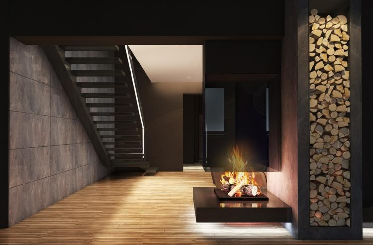 éclairage design objets de musique salons bois de chauffage