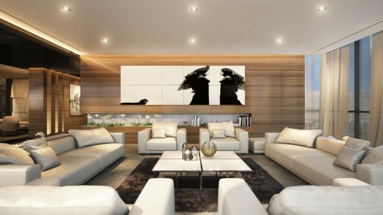 tapis modernes planchers de bois murs fauteuils