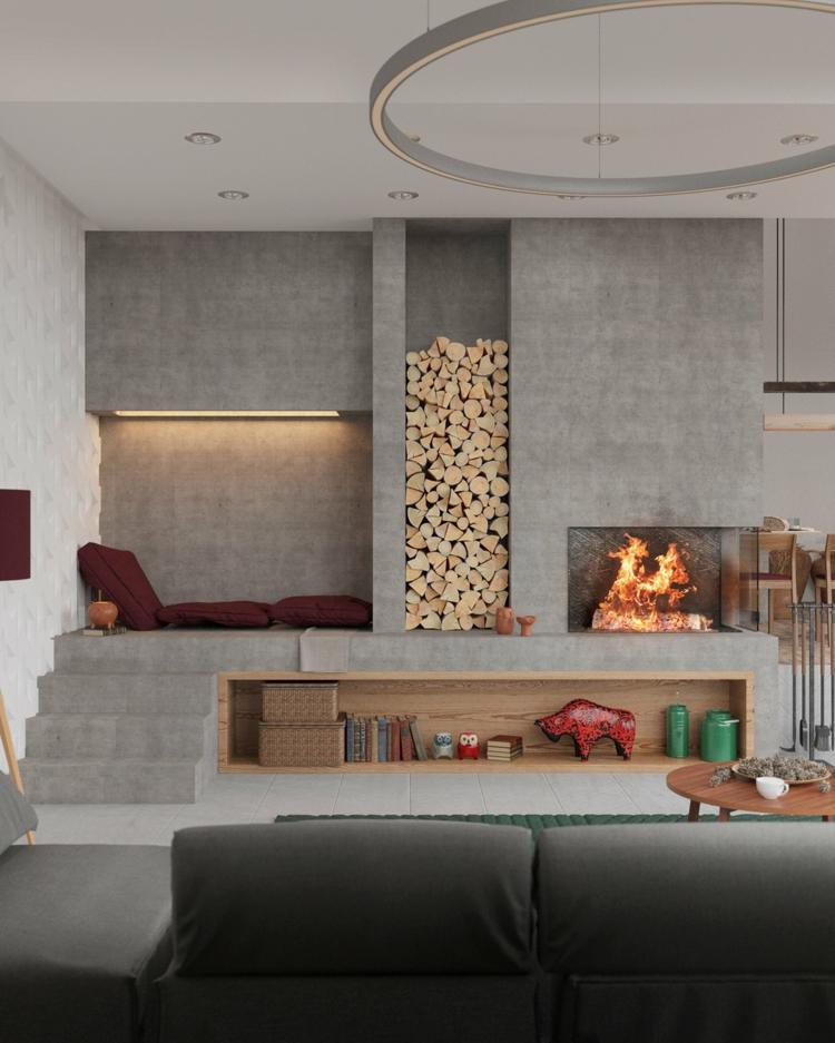 cheminées modernes, salons, ponts, feux de style