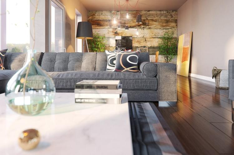 planchers de bois salons styles plantes roses