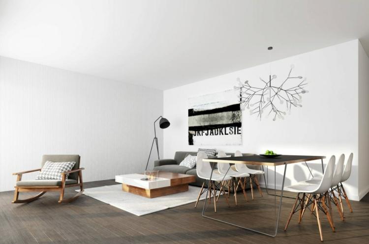 murs blancs salon idées zones