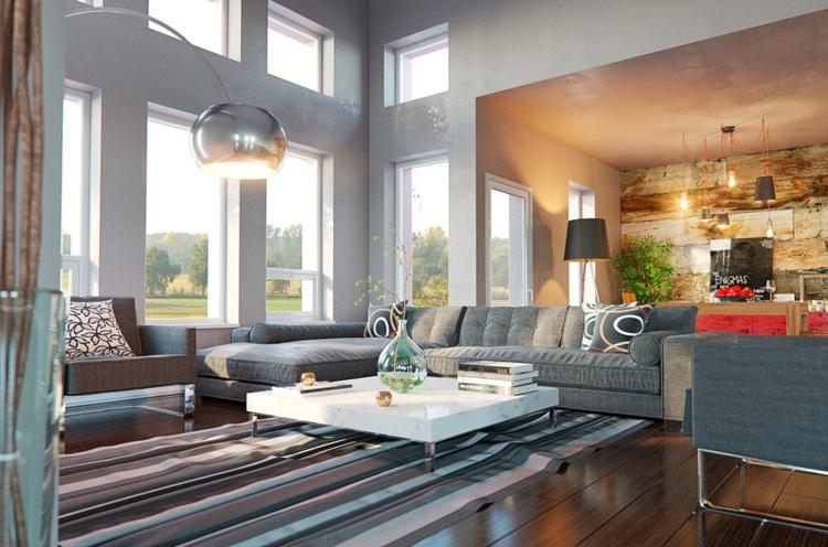 planchers de bois salons styles murs dorés