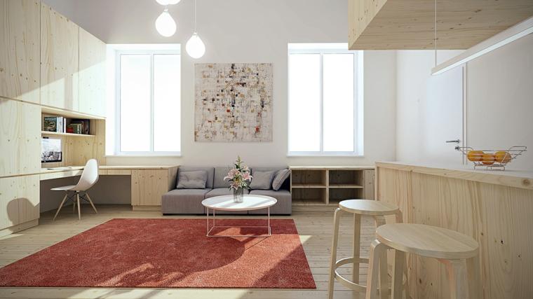 tapis salon meubles respecte le rouge