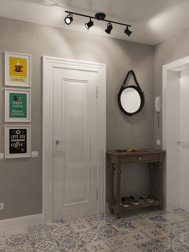 murs gris idées miroirs cordes luminaires