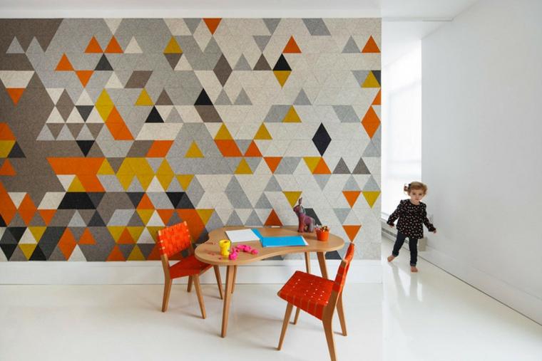 murs créativité différences triangles colorés