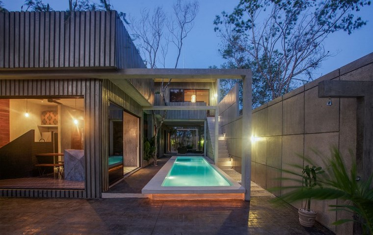 conception de la maison mexique grand jardin moderne