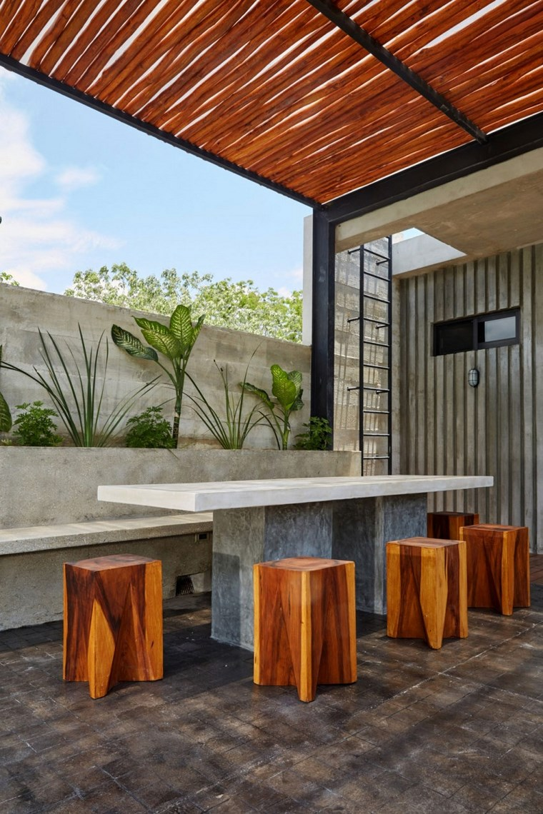 idées de pergola de terrasse de mexique de conception de maison