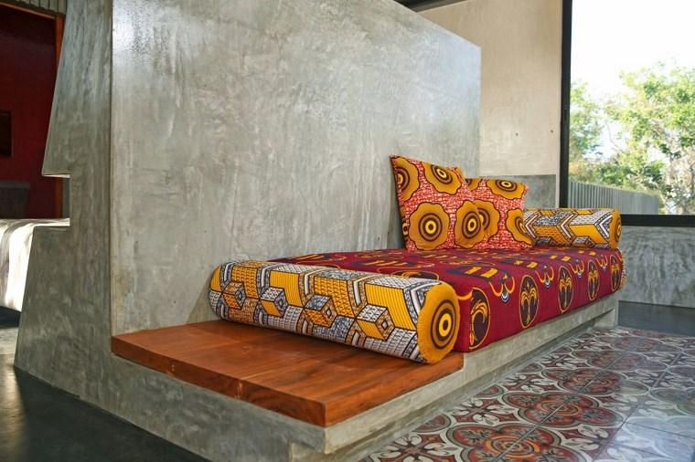mexico house design banc coussins mur béton idées
