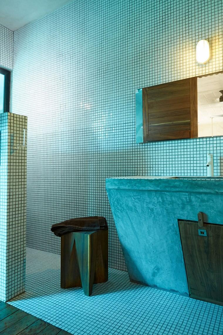 maison mexique design salle de bain idées de mosaïque blanche