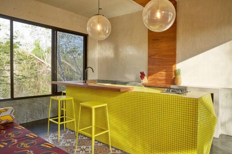 design maison mexique tabourets de cuisine jaunes