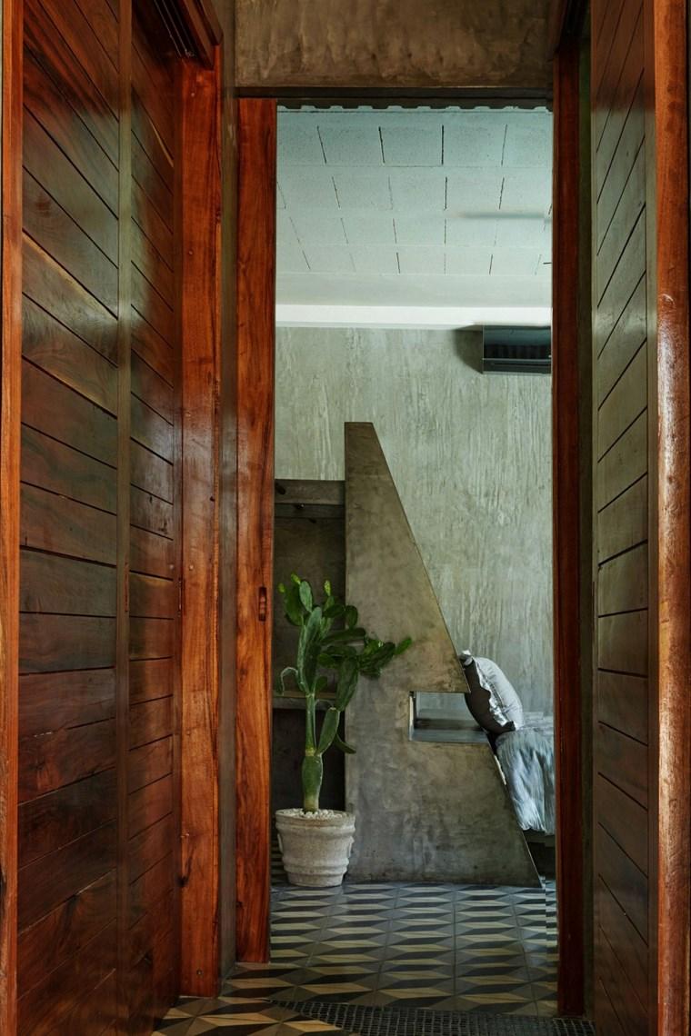 mexique maison design entrée murs en bois idées