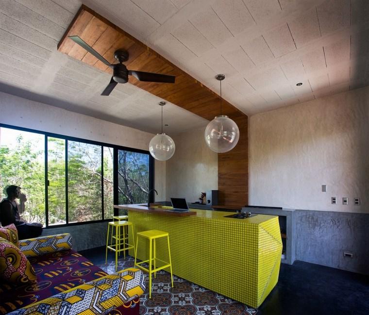 mexique maison design îlot de cuisine idées jaunes
