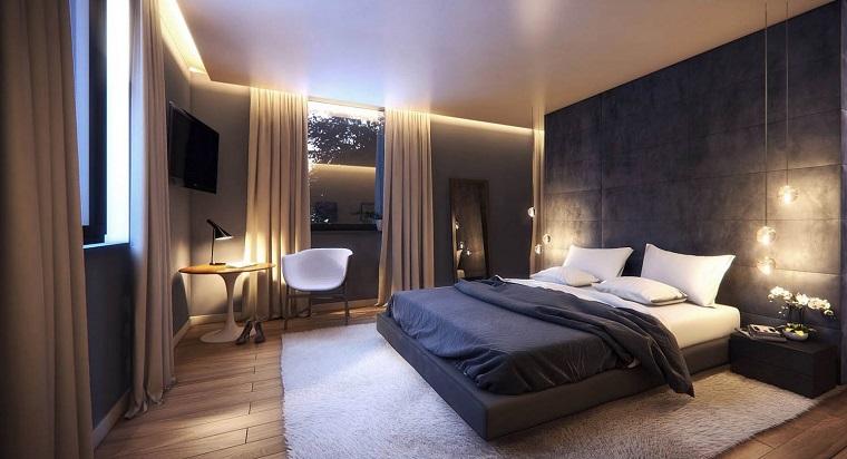 détails et plus d'options idées de mur noir de chambre à coucher moderne