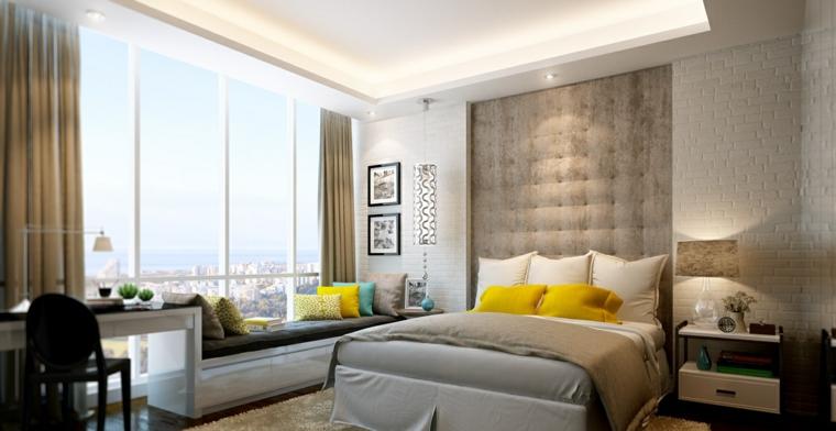 détails et plus d'options idées de fenêtre de banc de chambre moderne