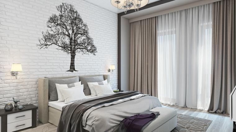 Détails et plus d'options Idées modernes de mur de brique d'arbre de chambre à coucher