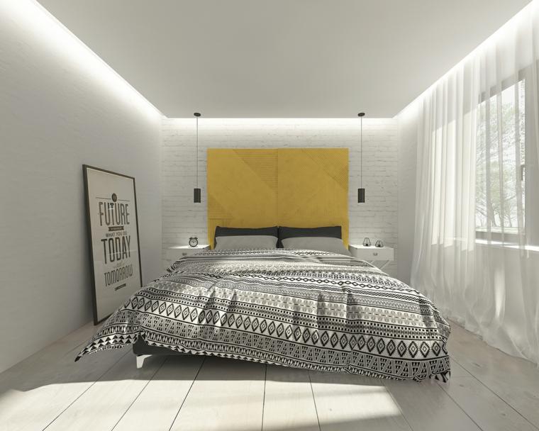 Options de détails Idées de mur jaune chambre moderne