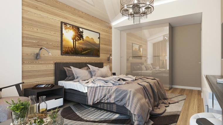 Options de détails idées de photo de mur de chambre à coucher moderne en bois