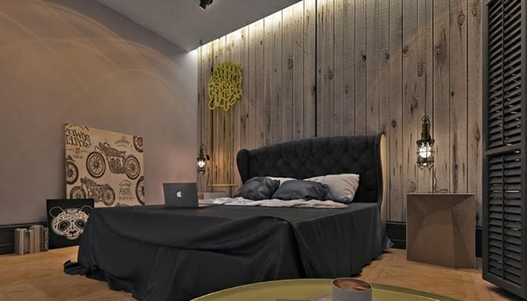 Chambre à coucher moderne avec lit noir et mur en bois