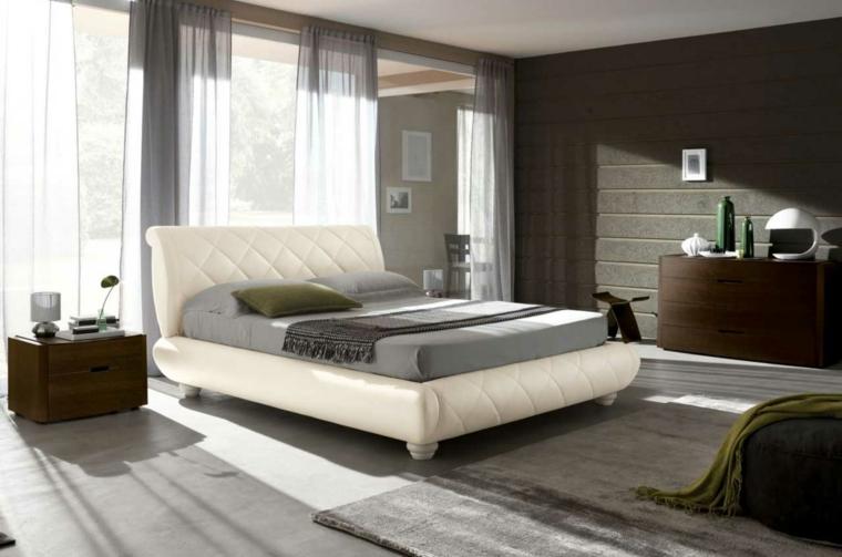 lit de chambre à coucher moderne en cuir blanc idées de meubles marron