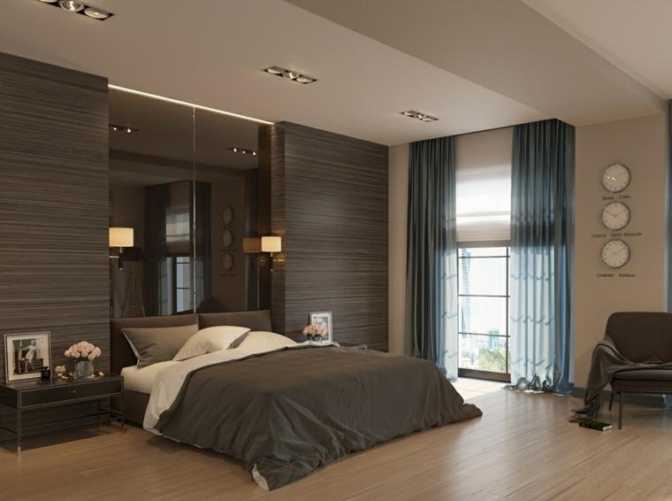 chambre moderne rideaux bleus horloges murales idées