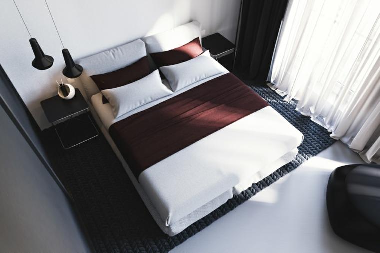 Idées modernes de grand lit de chambre étroite