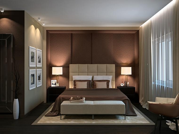 idées de murs marron pour chambre à coucher moderne