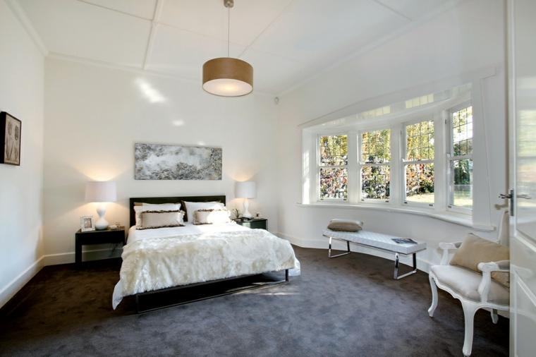 Idées de tapis noir pour chambre ovale moderne