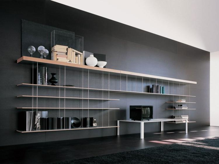 étagères suspendues modernes de la bibliothèque de modène