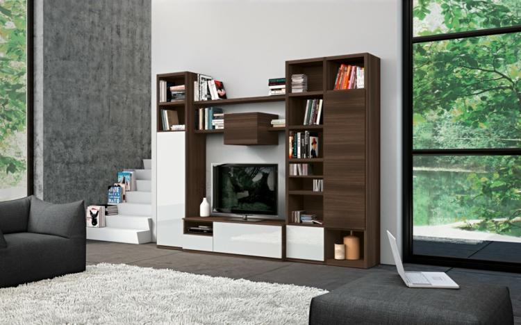 étagères de salon en bois blanc moderne