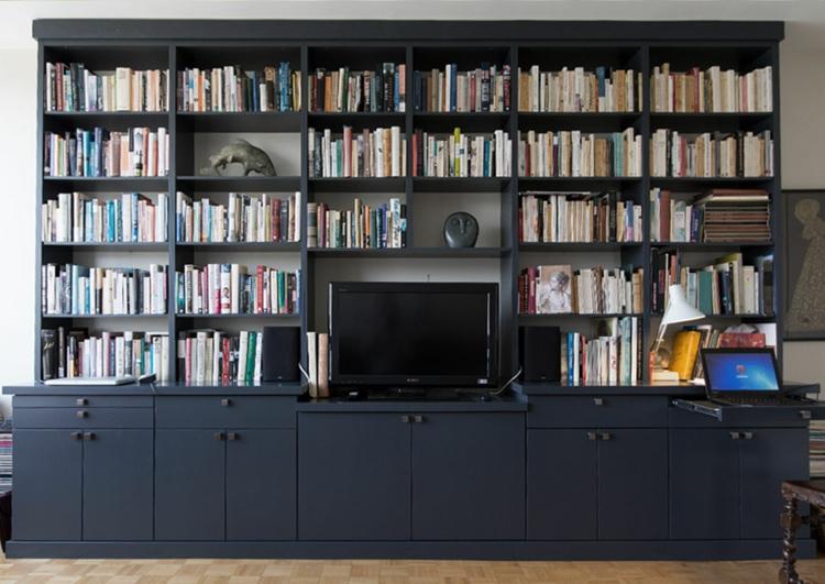 bibliothèque de meuble tv bleu