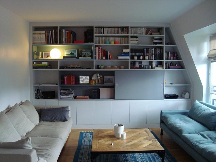 belle bibliothèque de salon design