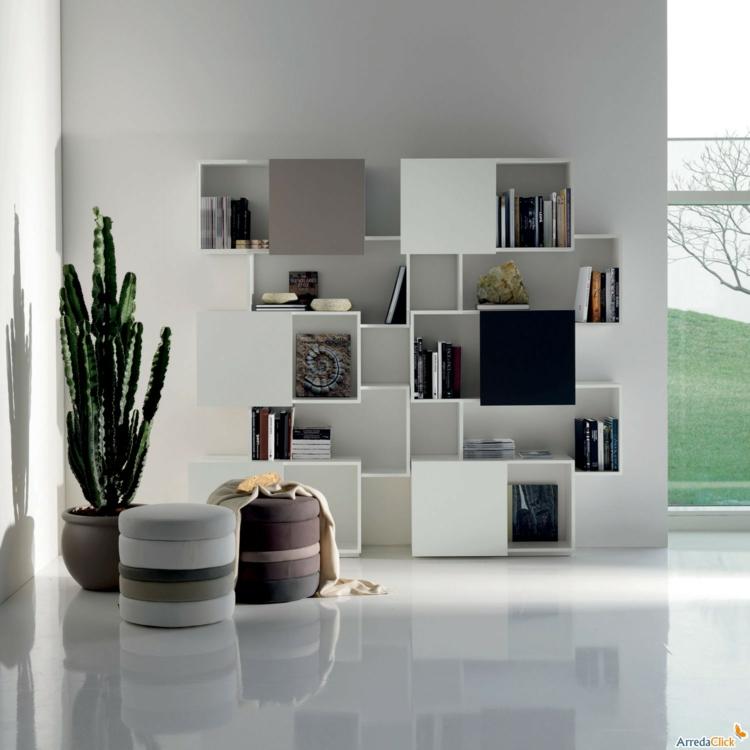 conceptions originales étagères modulaires blanches
