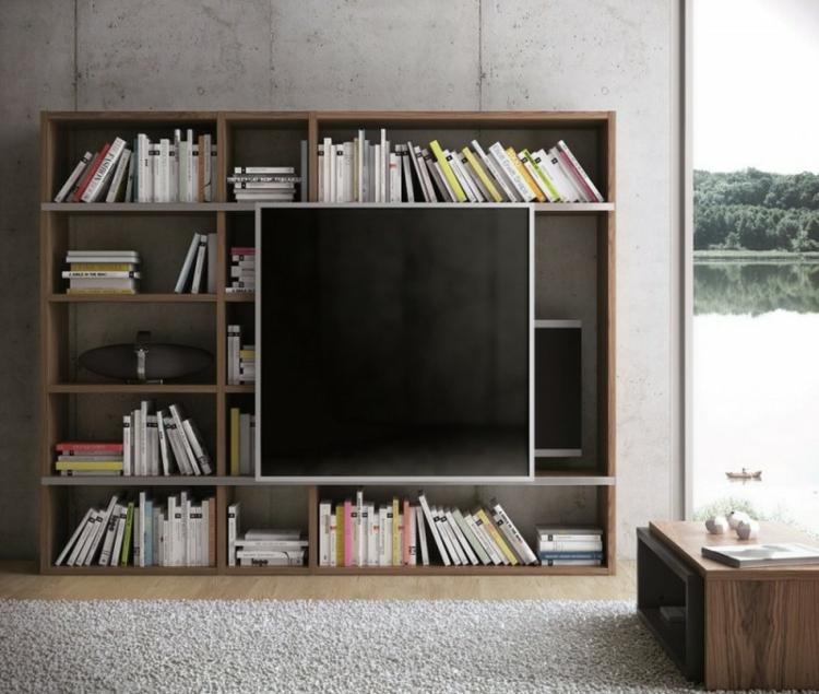 grande bibliothèque de télévision moderne