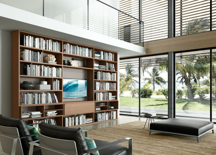 décoration de salon de meubles de bibliothèque