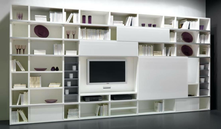 étagères de télévision de meuble blanc