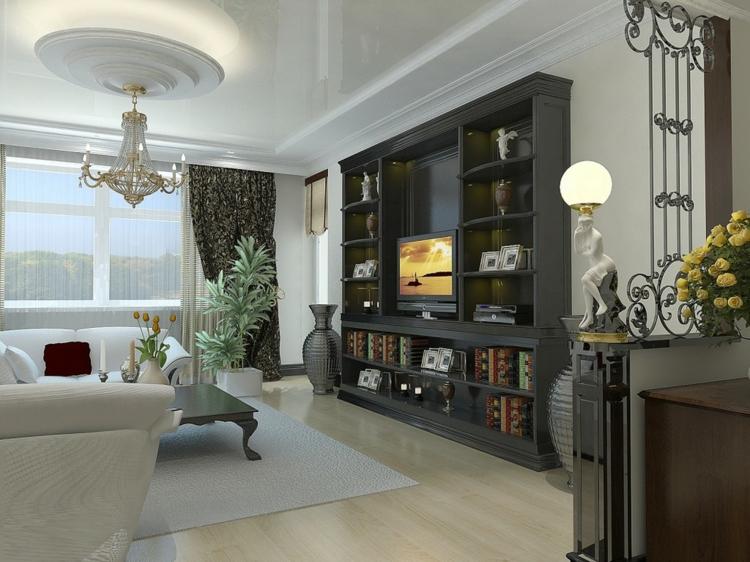 meubles d'étagères de salon noirs