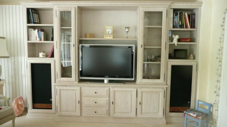 meuble TV beige encastrable