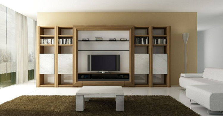 meubles étagères salon en bois moderne