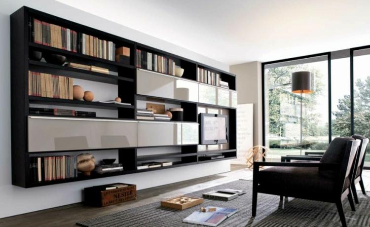 étagères de télévision de meuble noir