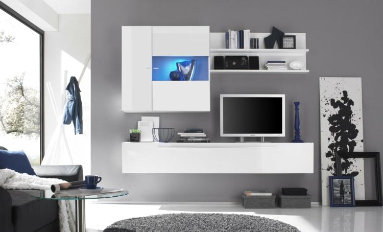 mur de meubles de salon blanc