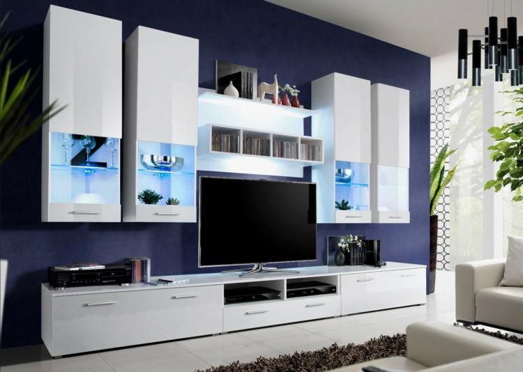 meuble modulaire blanc salon tv