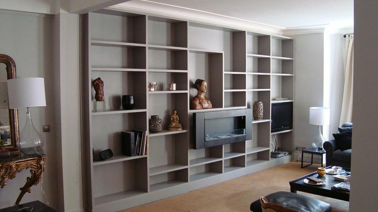 meubles de salon étagères intégrées modernes