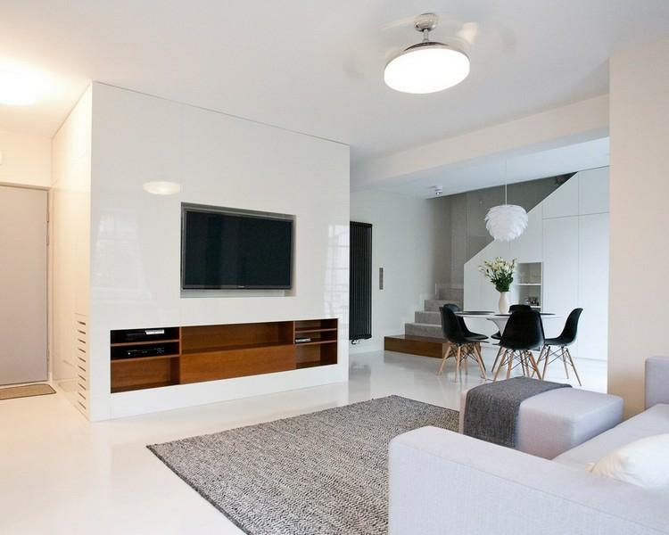 mobilier intégré de salon blanc