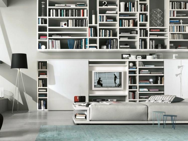 armoires de télévision avec bibliothèques intégrées