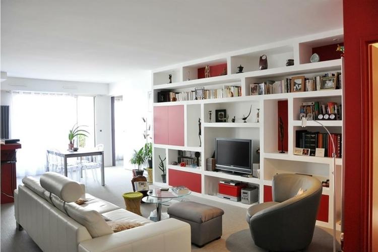 étagères de salon moderne blanc rouge