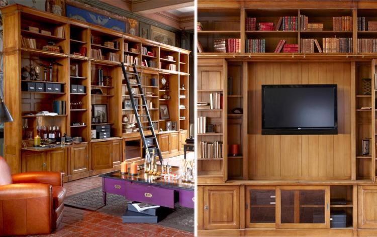 salon bibliothèque meuble tv en bois