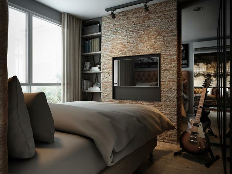 idées de brique de mur de petite chambre