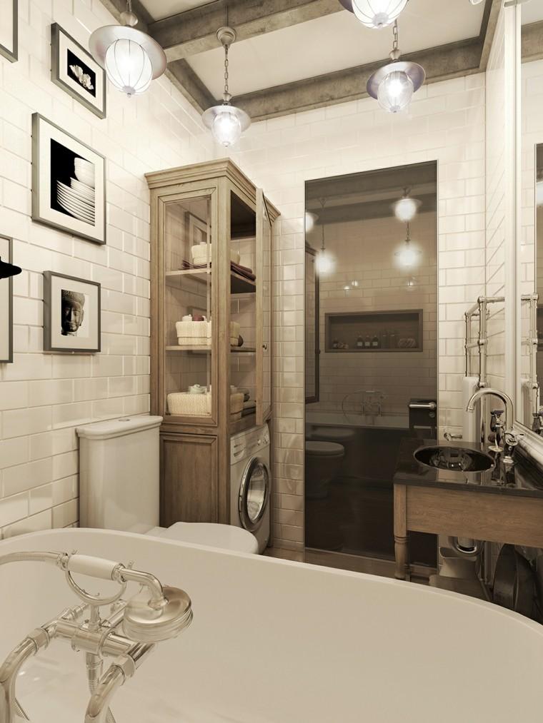 idées de murs blancs de salle de bain de style vintage