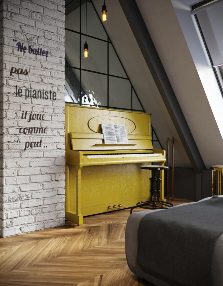 colonne de sol en brique blanche piano idées jaunes