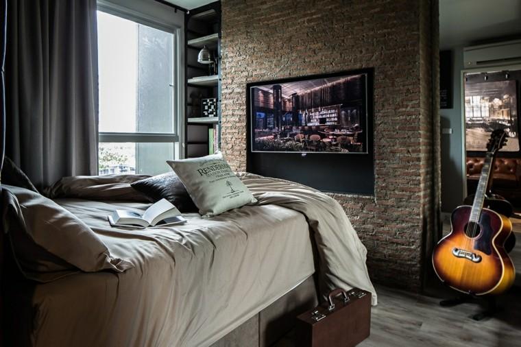 chambre a coucher design sol loft mur de briques idées modernes